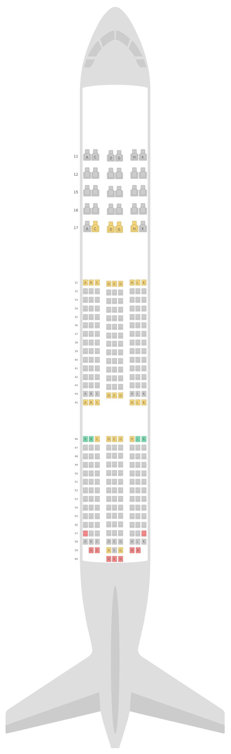 Sitzplan Boeing 787-9 (789) v1 Hainan Airlines