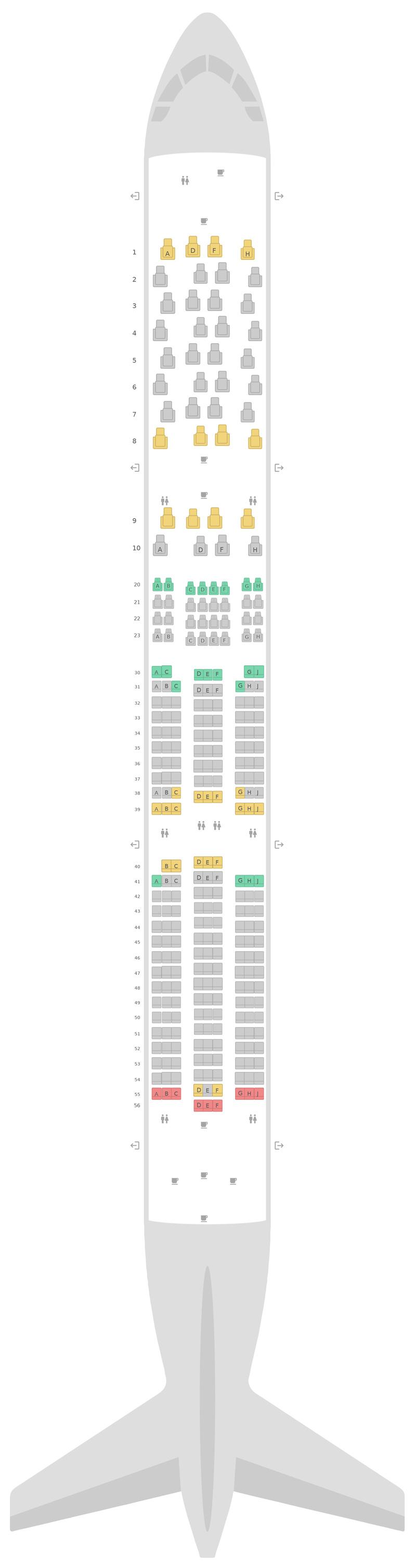 Sitzplan Airbus A350-900 (359) Scandinavian Airlines (SAS)
