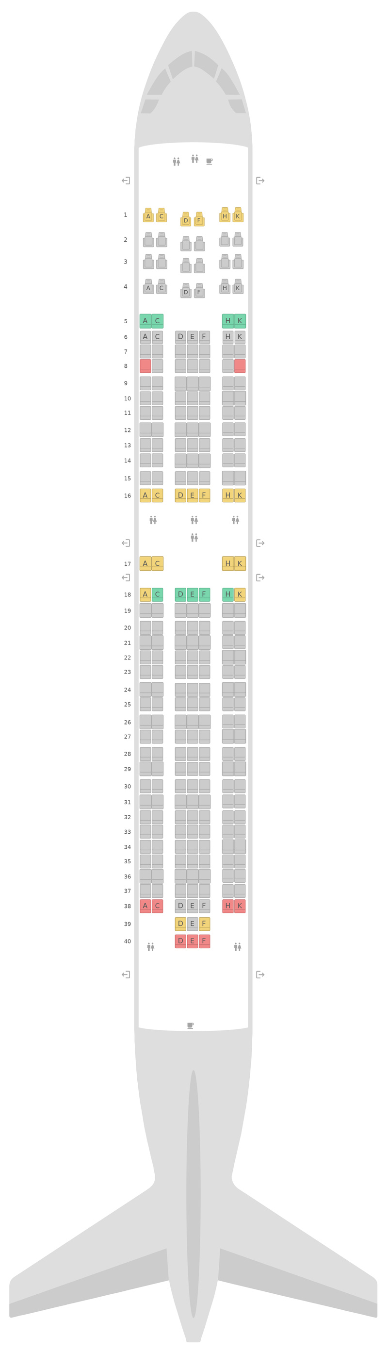 Схема салона Боинг 767-300 (763) WestJet