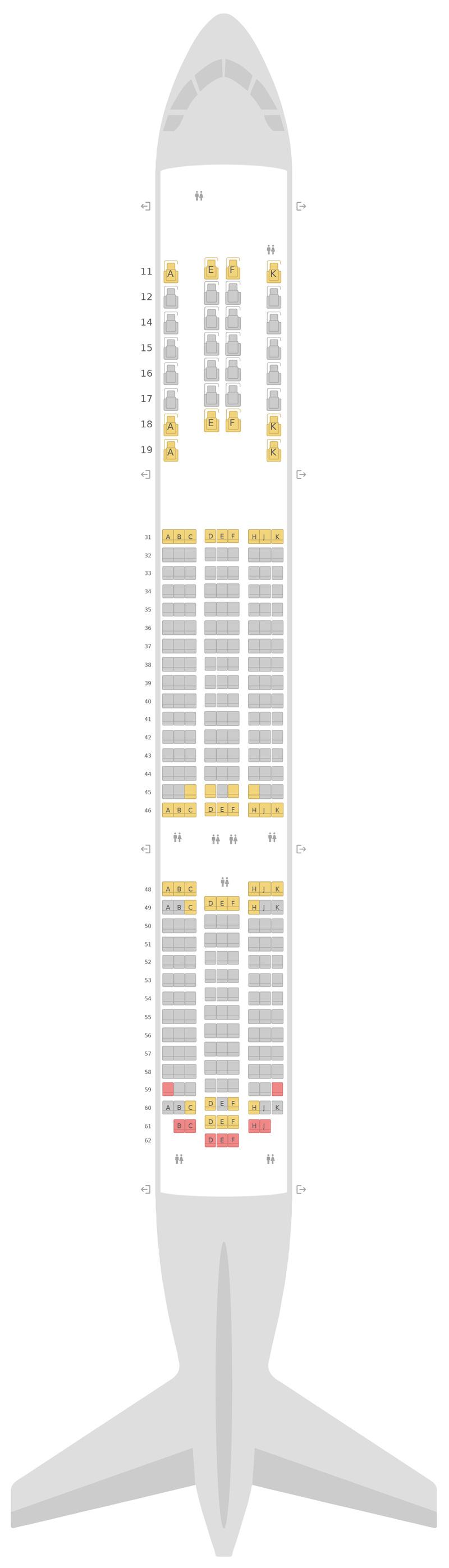Схема салона Боинг 787-9 (789) Тайские авиалинии