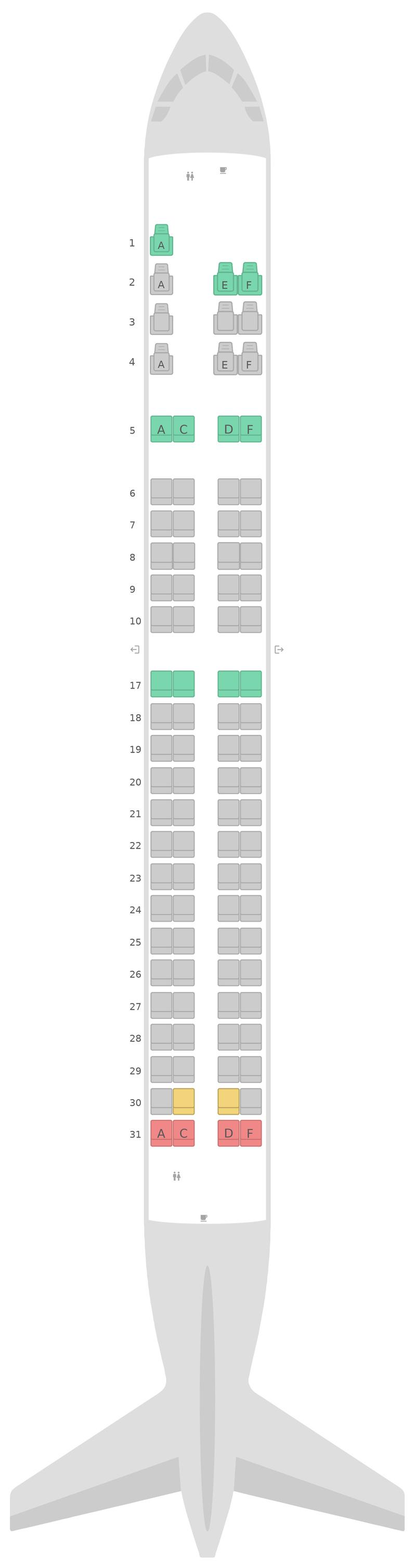 Mapa de asientos Embraer E190 (E90) v1 Copa Airlines