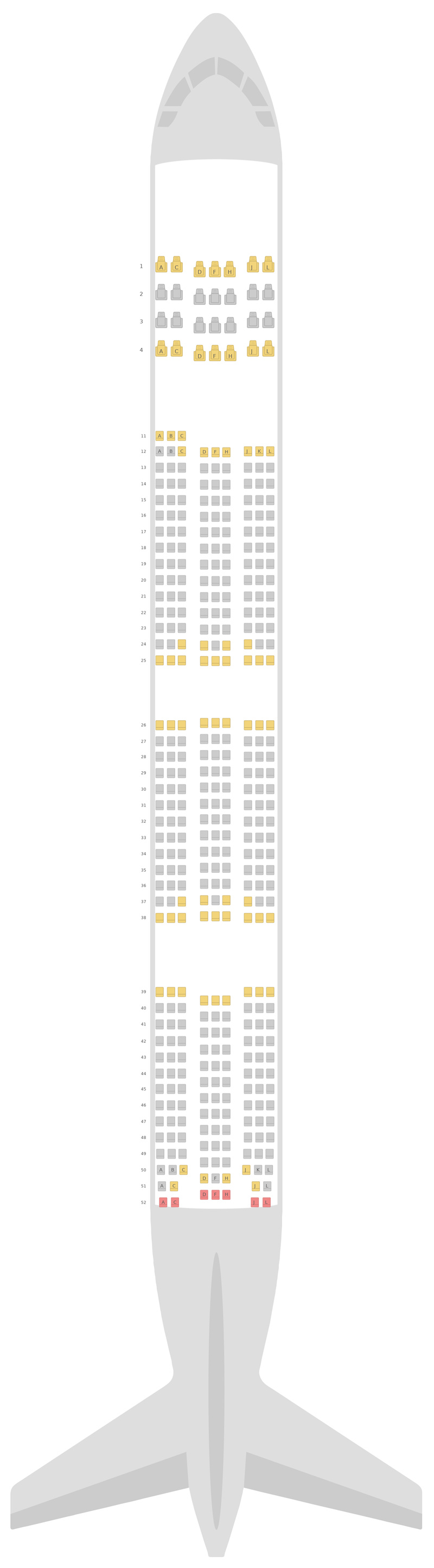Seat Map Ethiopian Airlines Boeing 777-300ER (77W)