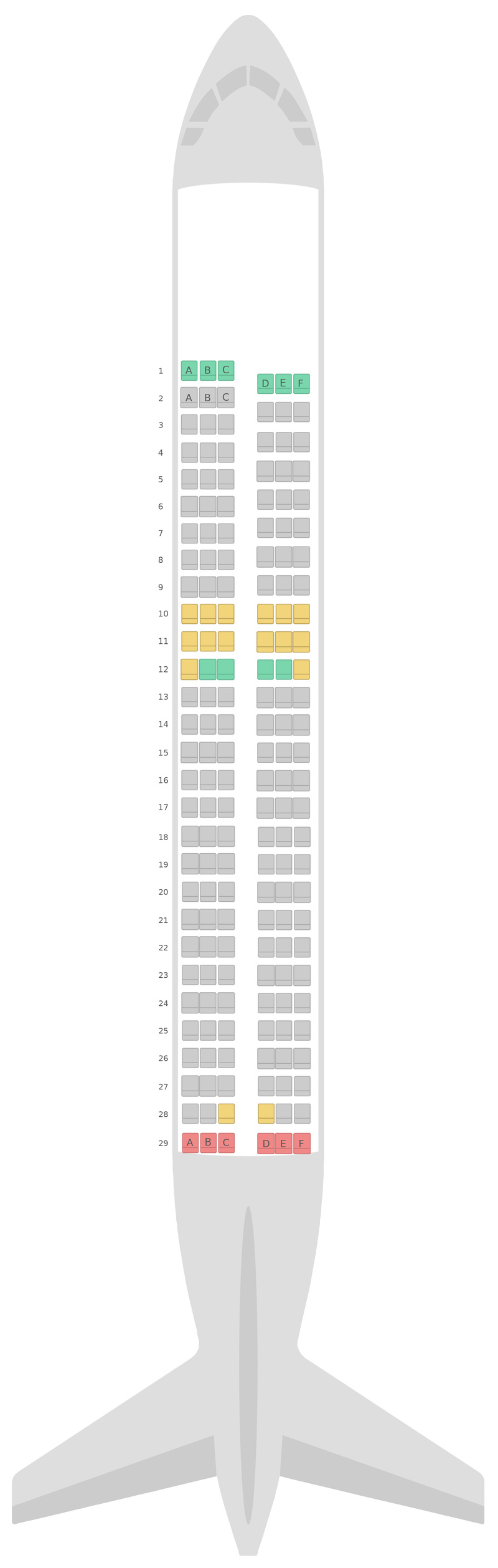 Sitzplan Airbus A320 Domestic Air New Zealand