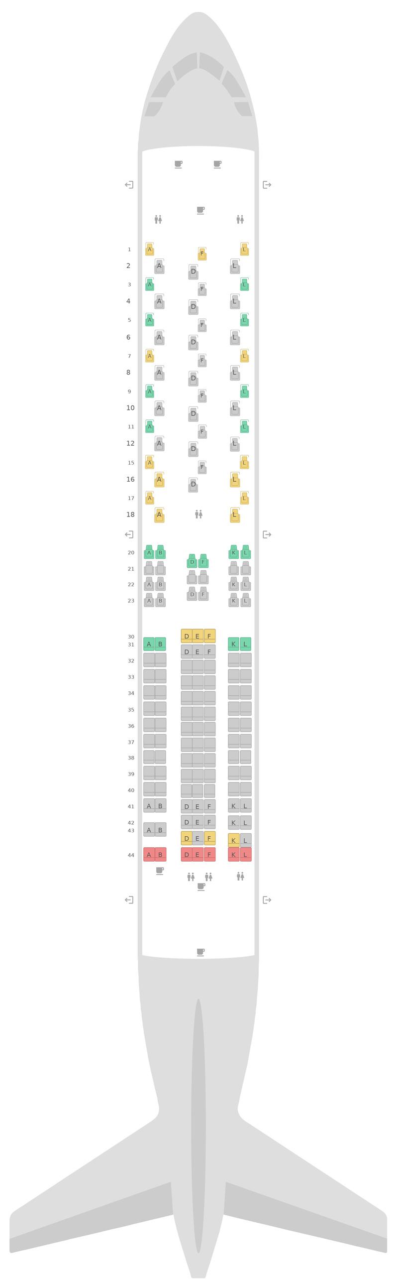 Mapa de asientos Boeing 767-300ER 4 Class United