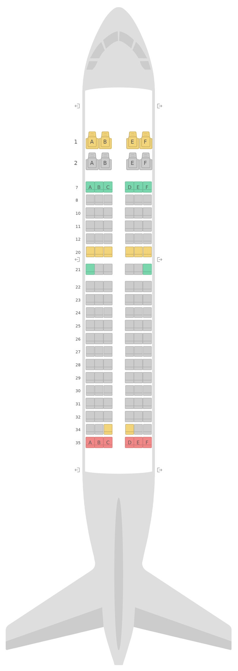 Seat Map United Airbus A319 v1