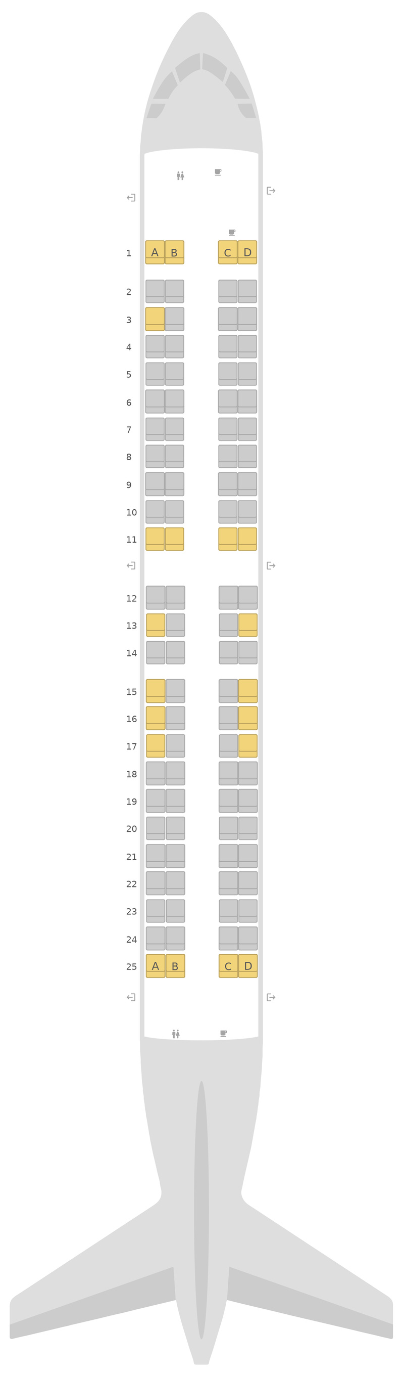 Seat Map Embraer E190 (E90) jetBlue Airways