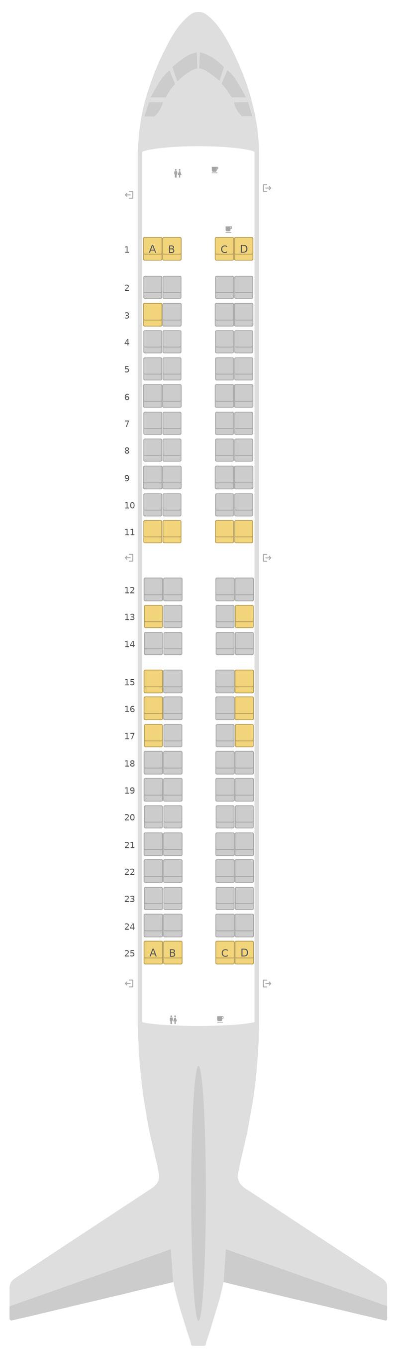 Mapa de asientos Embraer E190 (E90) jetBlue Airways