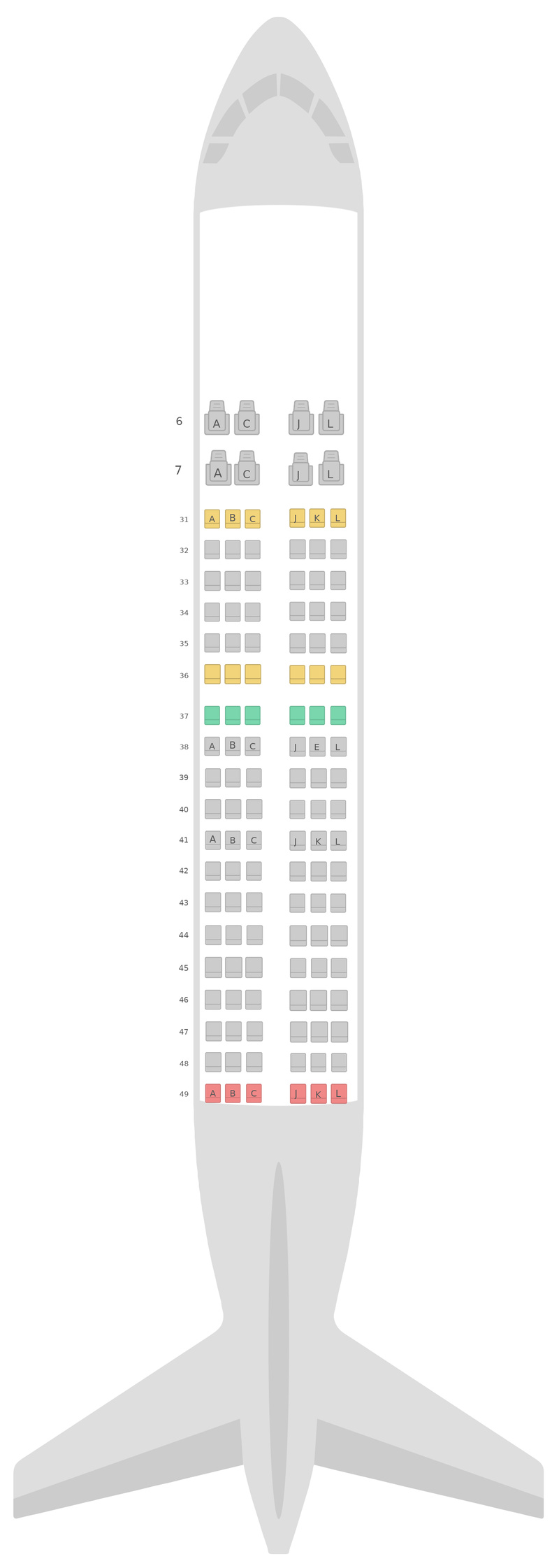 Seat Map China Eastern Airlines Airbus A319