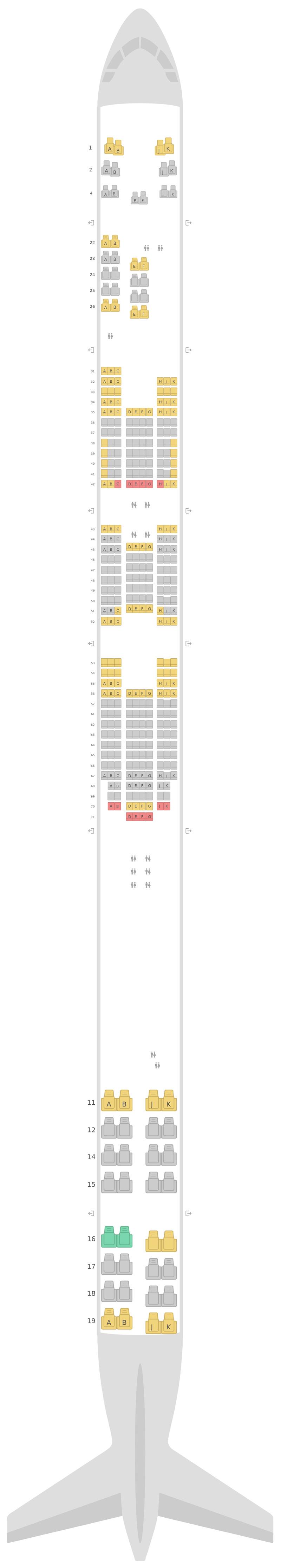 Mapa de asientos Boeing 747-400 (744) v1 Thai Airways