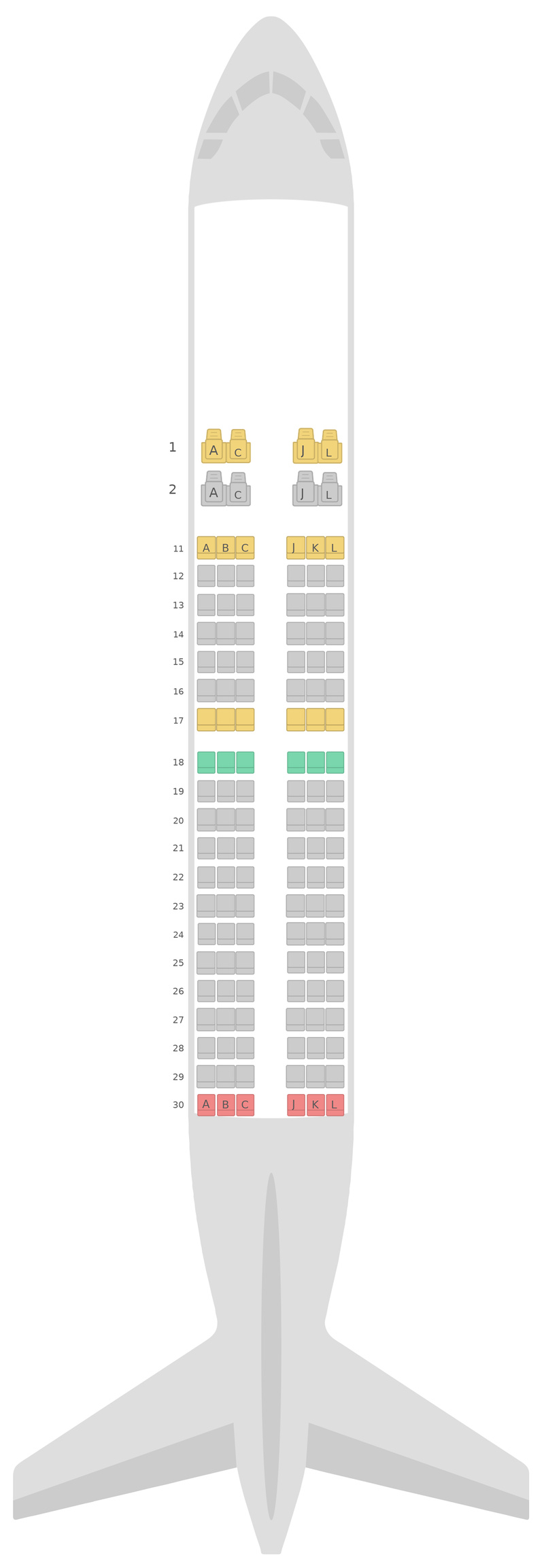 Схема салона Боинг 737-700 Эйр Чайна
