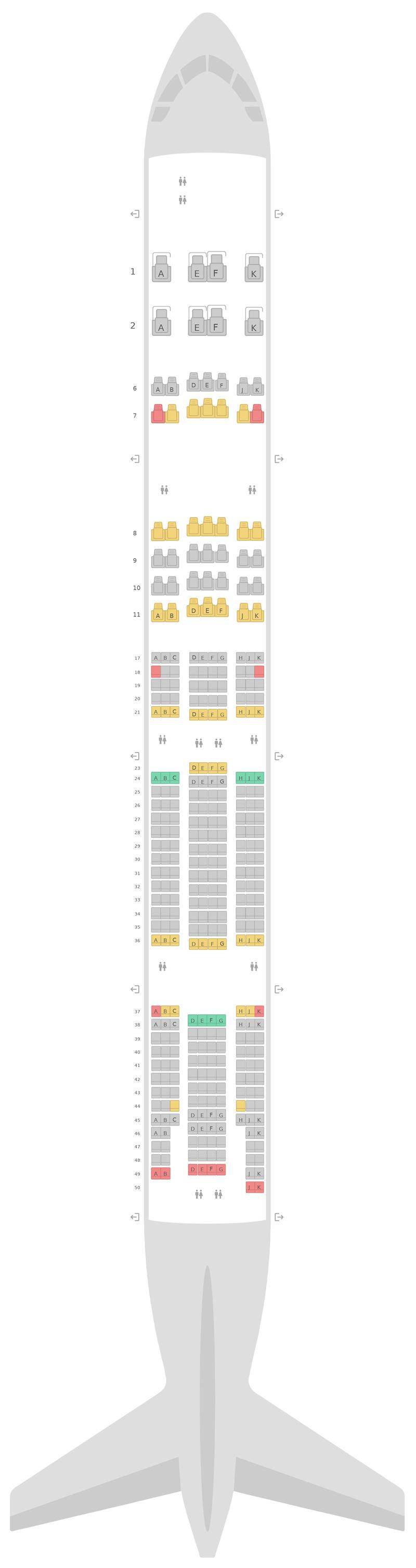 Mapa de asientos Boeing 777-300ER (77W) 3 Class Emirates