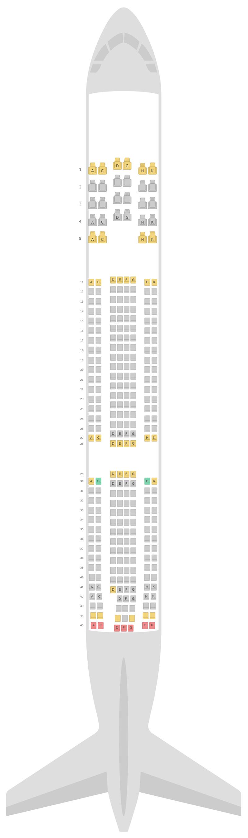 Mapa de asientos Airbus A330-300 (333) v2 Aeroflot
