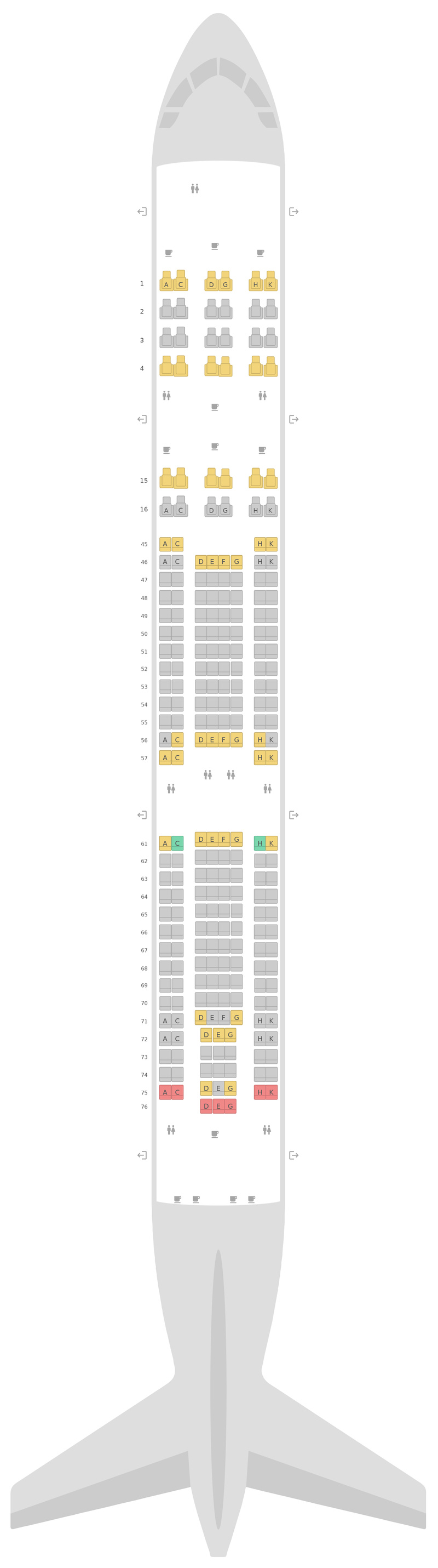 Seat Map South African Airways Airbus A340-300 (343) v2
