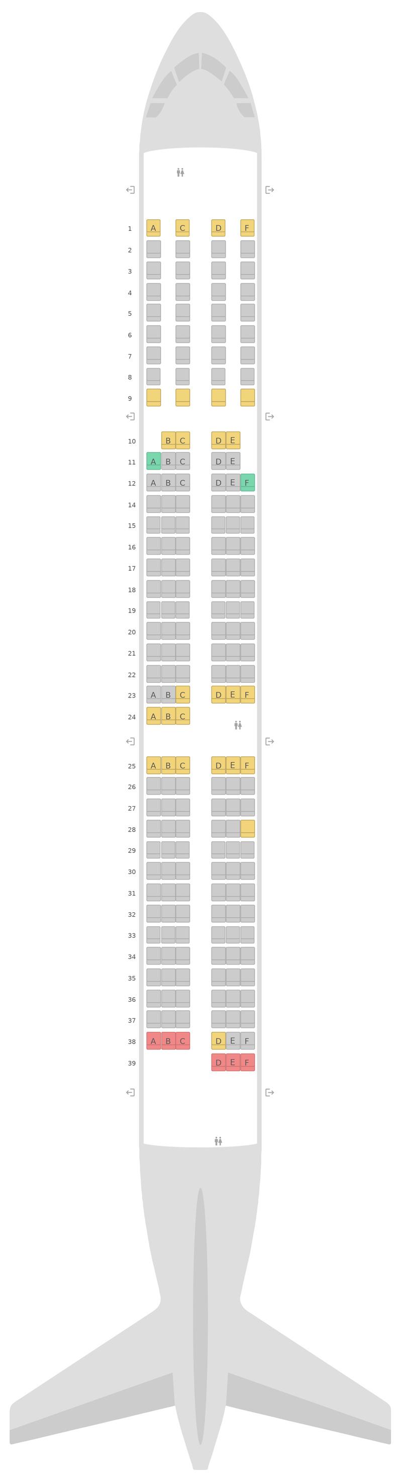 Mapa de asientos Airbus A321 Swiss International Air Lines