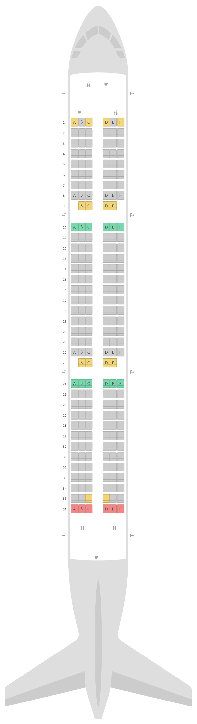 Seat Map Aer Lingus Airbus A321