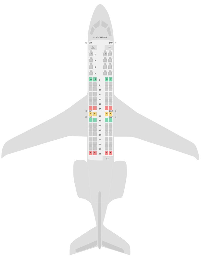 Схема салона Бомбардир CRJ900 (CR9) v1 Американские авиалинии