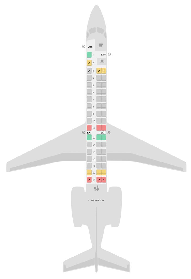 Mapa de asientos Embraer E145 (ER4) Air France