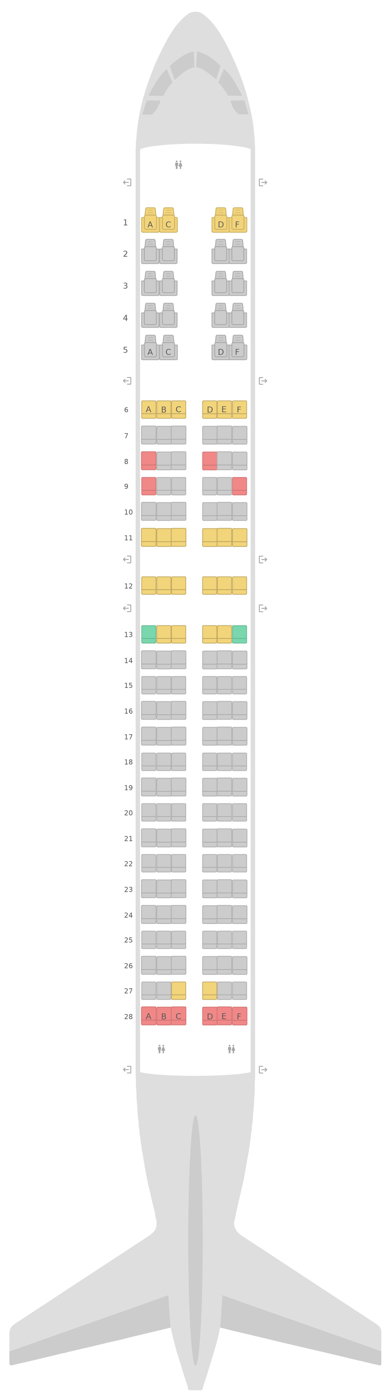 Mapa de asientos Boeing 737-800 (738) Aeroflot