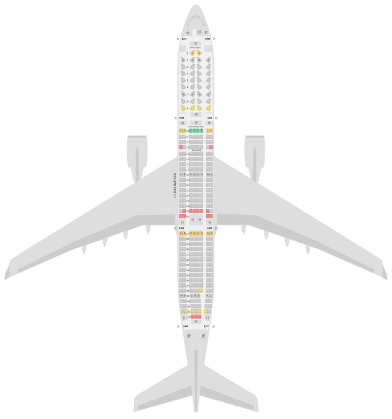 Sitzplan Airbus A330-300 (333) Delta Air Lines