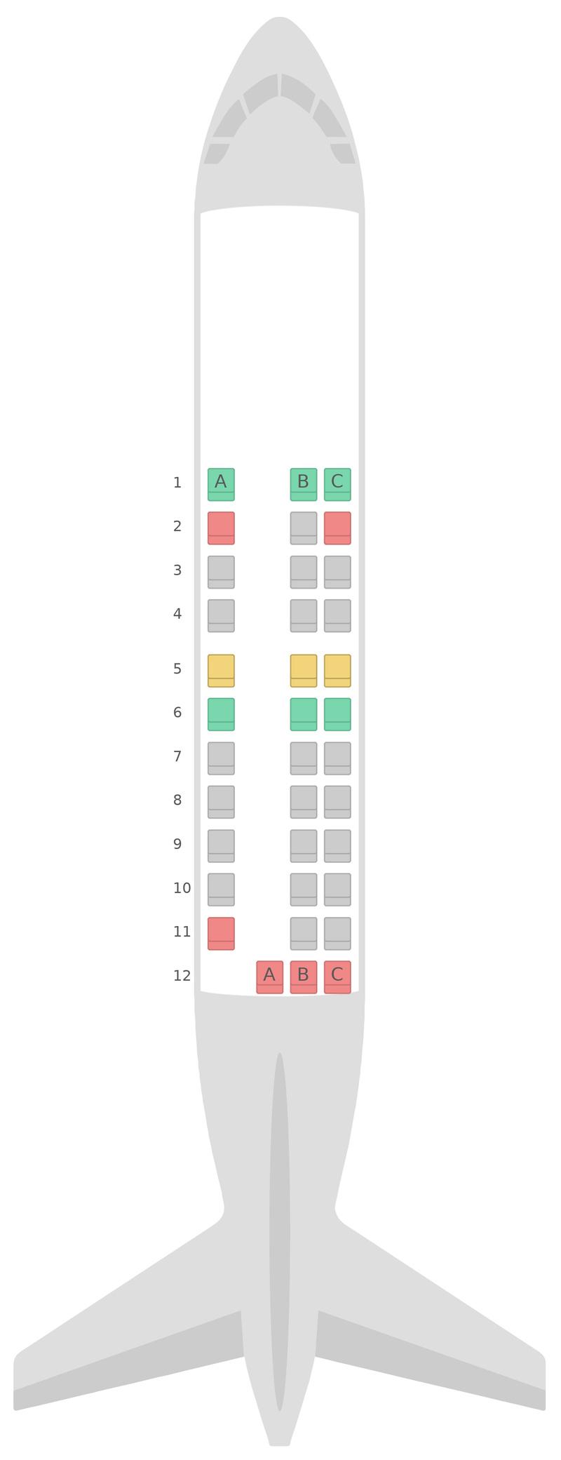 Схема салона Сааб 340 Японские авиалинии