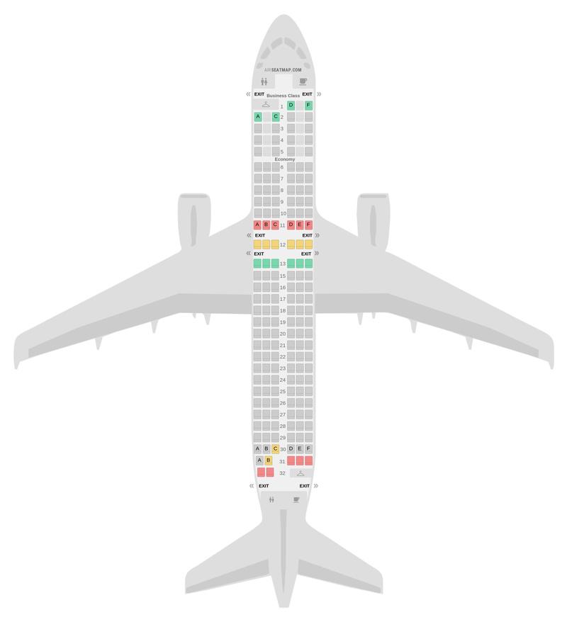 Mapa de asientos Airbus A320 2 Class v2 Air France