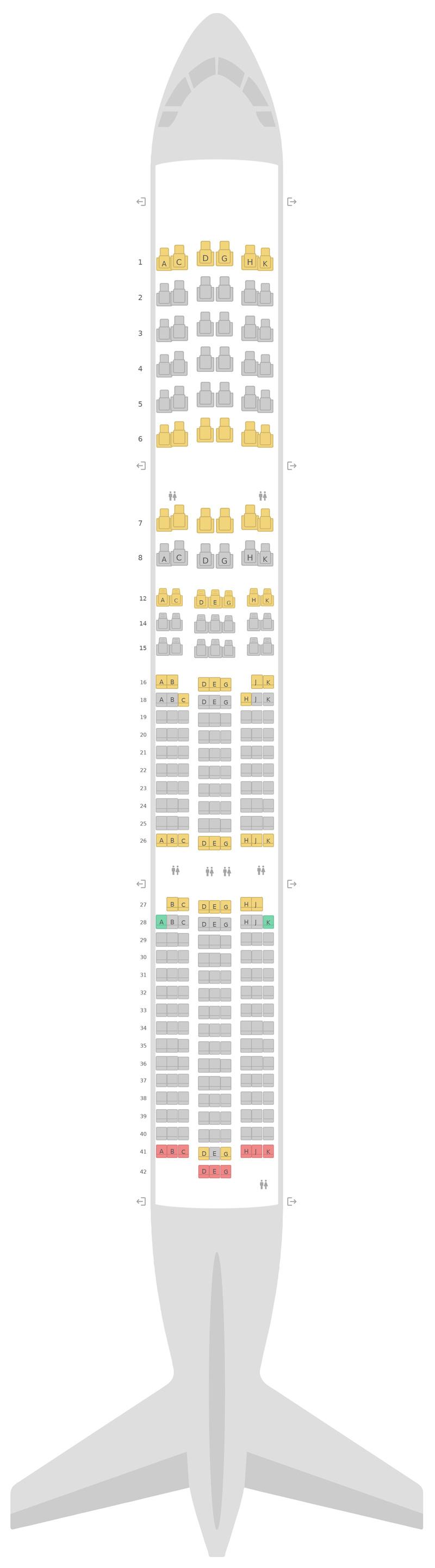 Mapa de asientos Airbus A350-900 (359) v1 Lufthansa