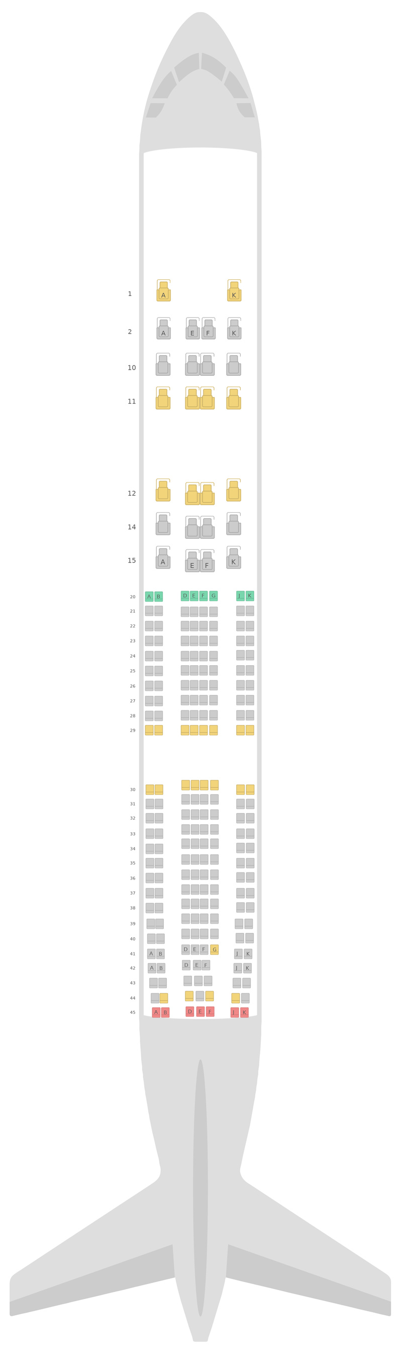 Seat Map Oman Air Airbus A330-300 (333) 3 Class