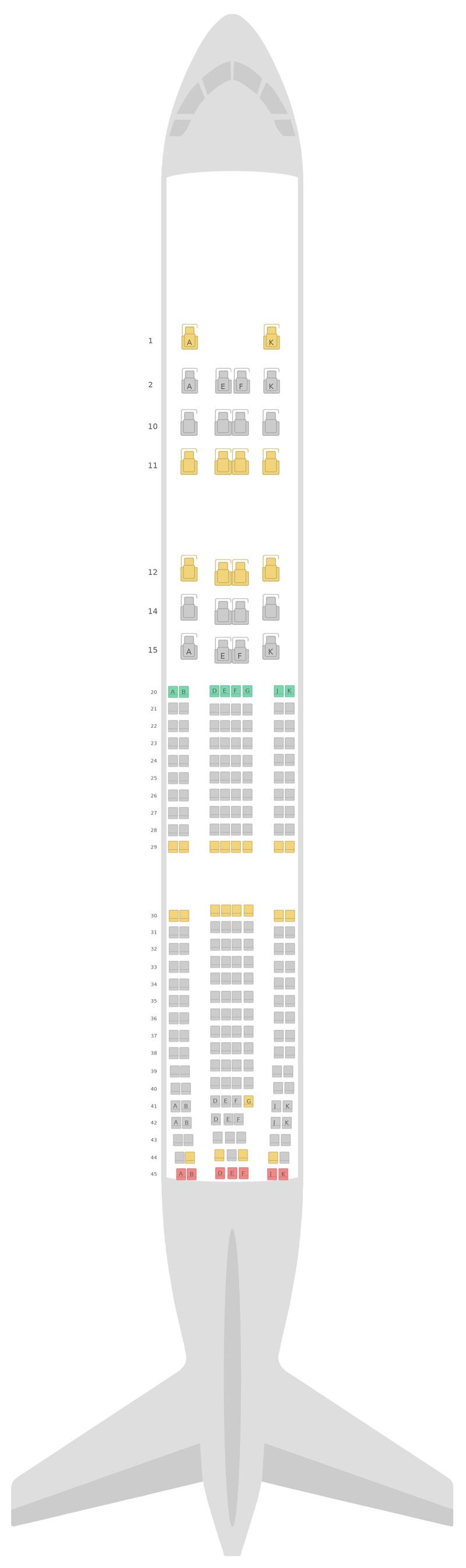 Sitzplan Airbus A330-300 (333) 3 Class Oman Air