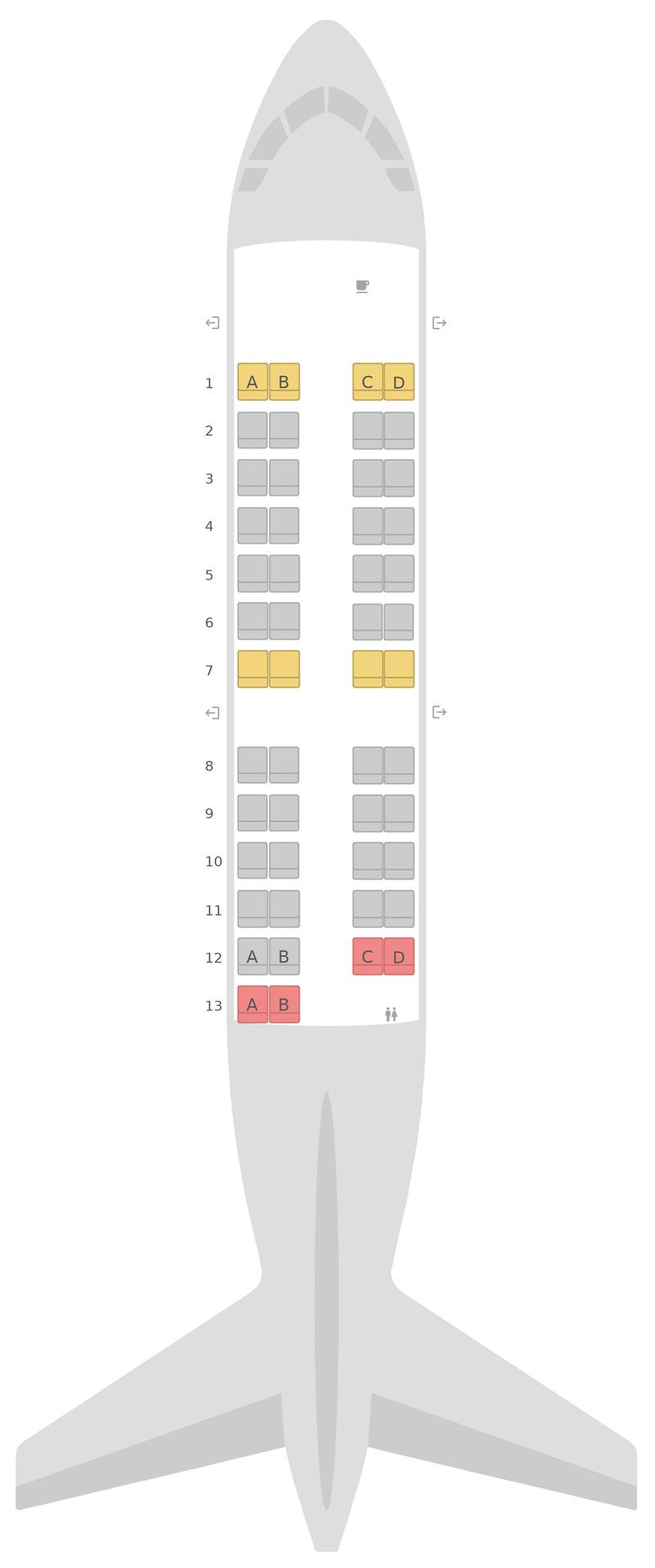Схема салона Бомбардир CRJ200 (CR2) United