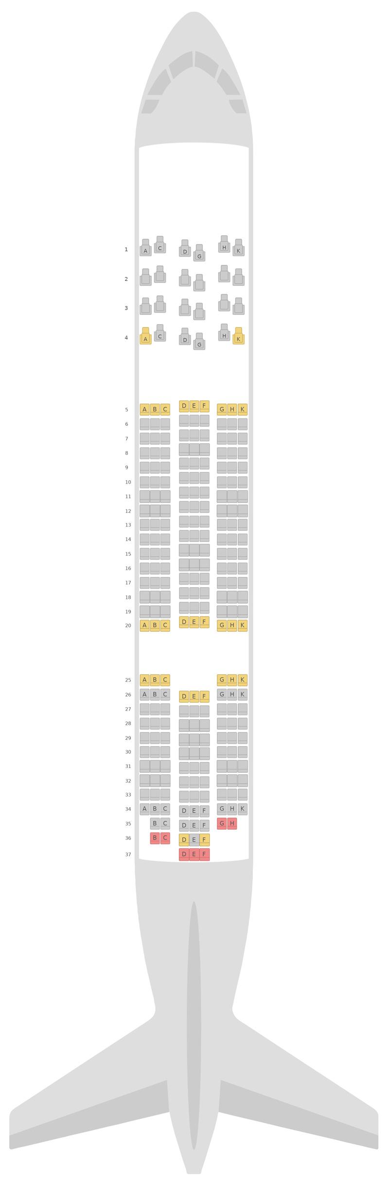 Seat Map Royal Jordanian Airlines Boeing 787-8 (788)