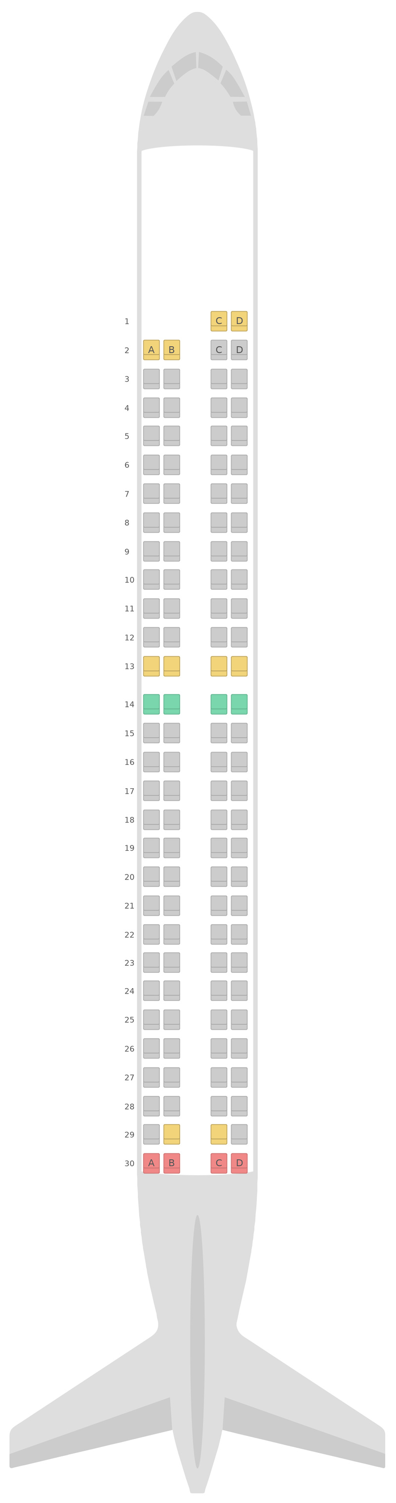 Схема салона Эмбраер 195 Azul Airlines