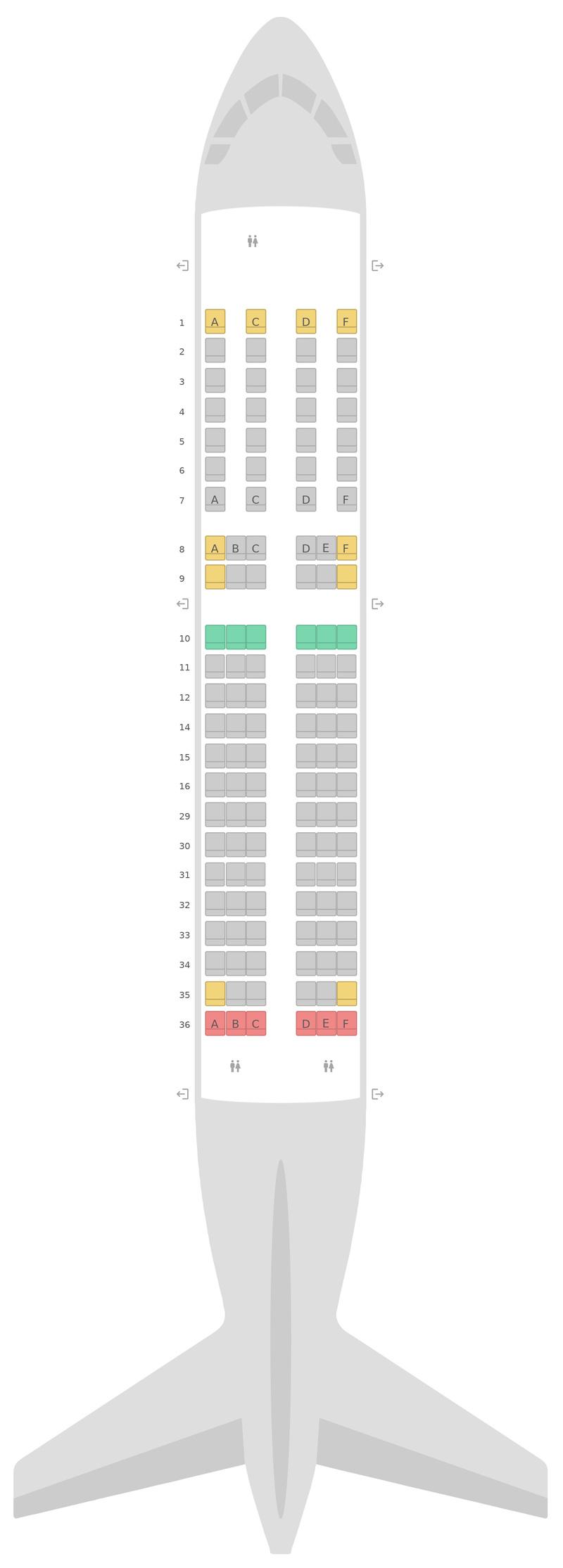 Sitzplan Airbus A319 Swiss International Air Lines