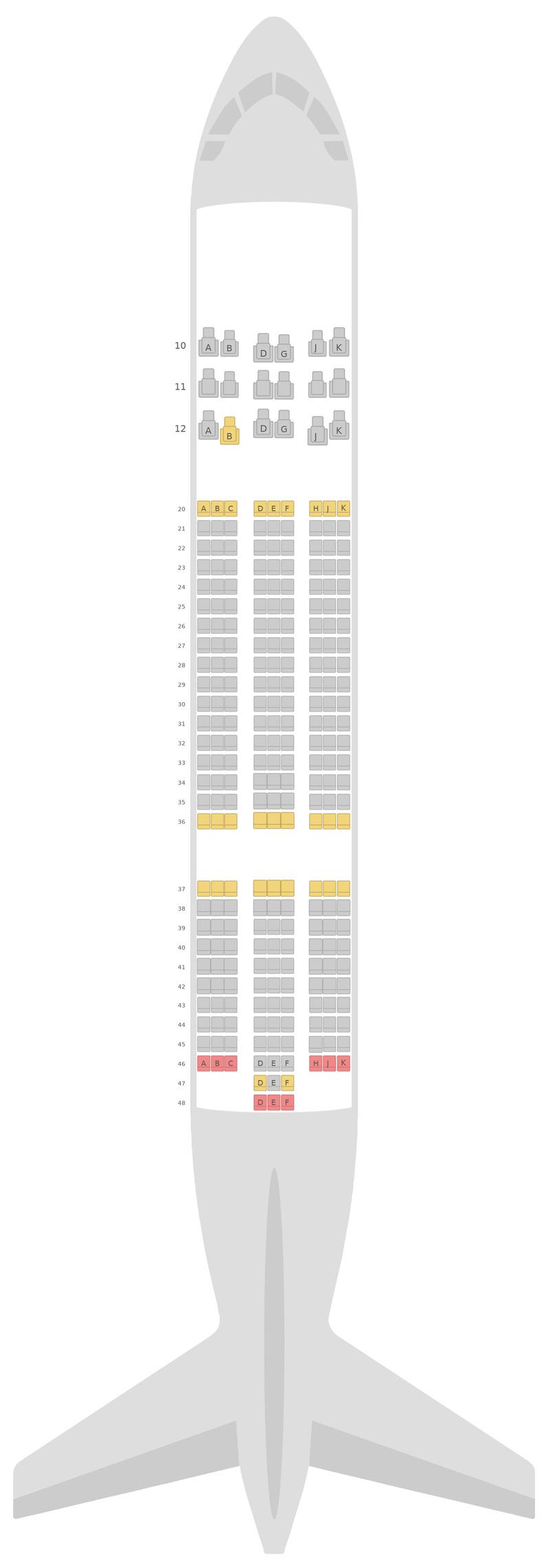 Схема салона Боинг 787-8 (788) Оман Эйр