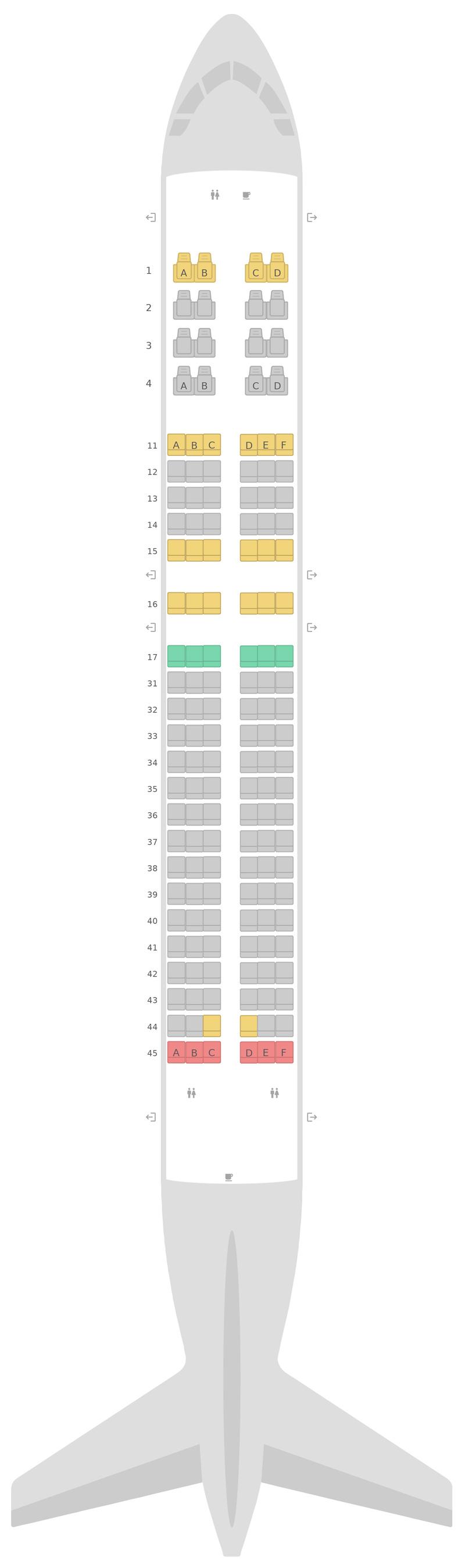 Схема салона Аэробус А320 нео (32N) Эйр Астана