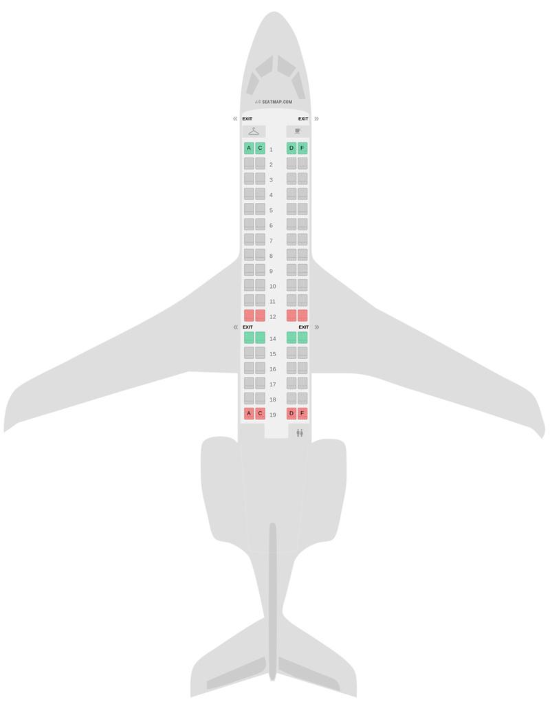 Схема салона Бомбардир CRJ700 (CR7) Эйр Франс
