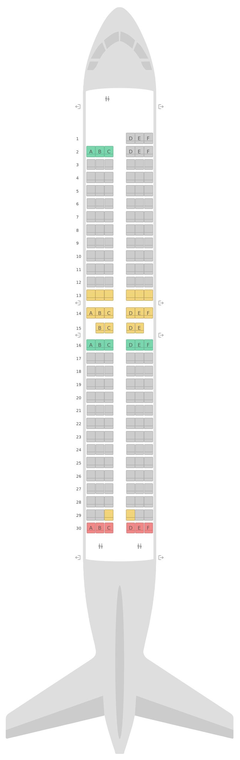 Схема салона Боинг 737 Макс (7M8) Southwest Airlines