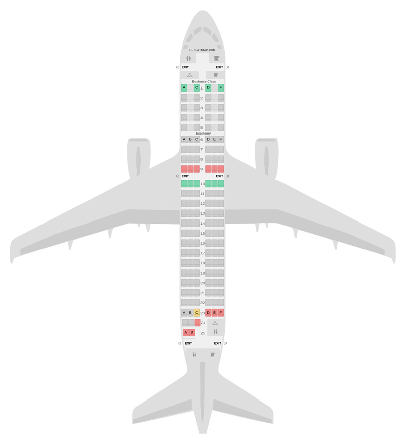 Mapa de asientos Airbus A319 2 Class v2 Air France