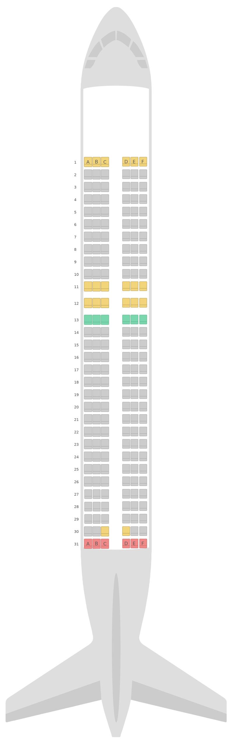 Схема салона Аэробус А320 нео (32N) EasyJet