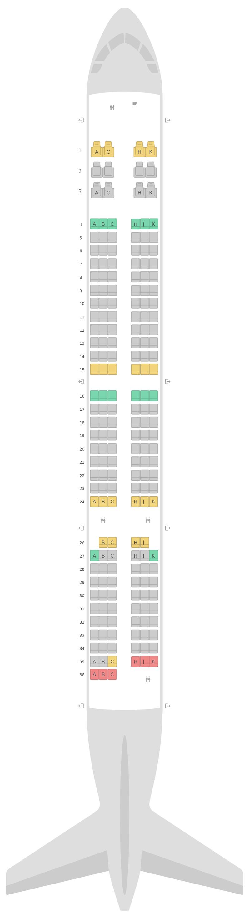 Seat Map Air Transat Airbus A321neo