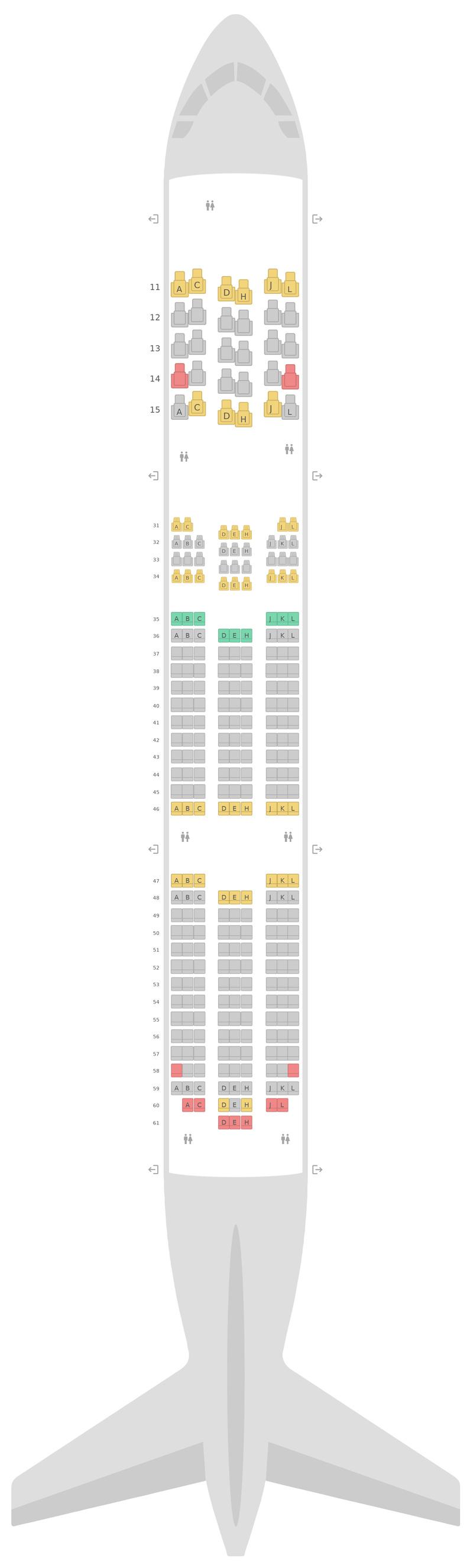 Схема салона Боинг 787-9 (789) Эйр Чайна