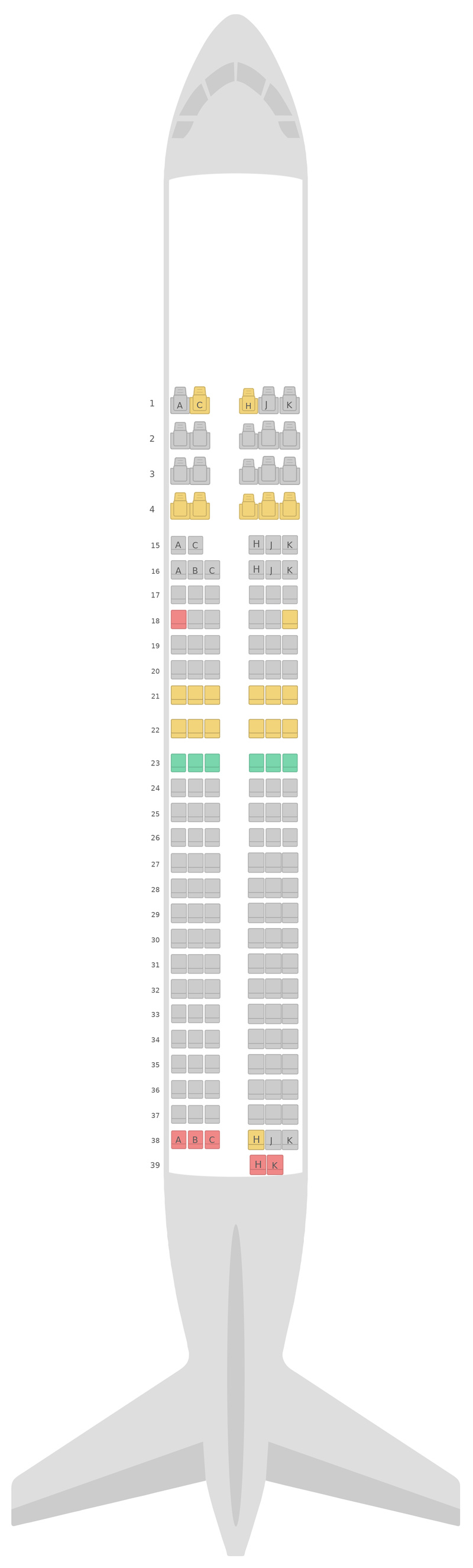 Mapa de asientos Boeing 737-800 (738) v1 Japan Airlines (JAL)