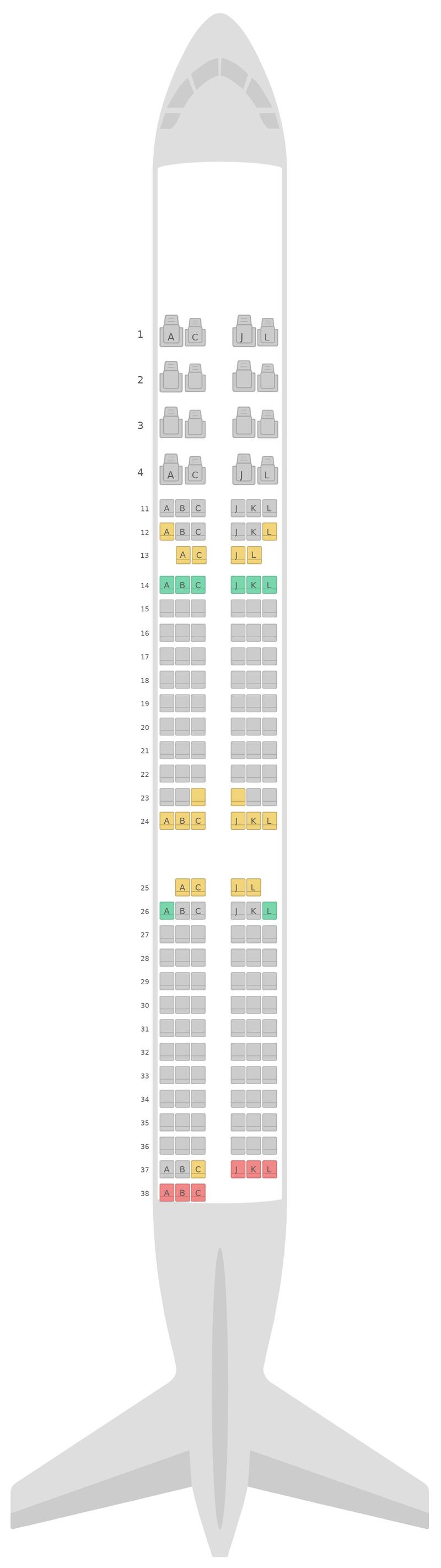 Seat Map Air China Airbus A321 v2