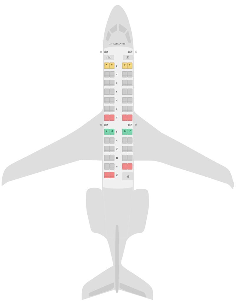 Mapa de asientos Bombardier CRJ200 (CR2) American Airlines