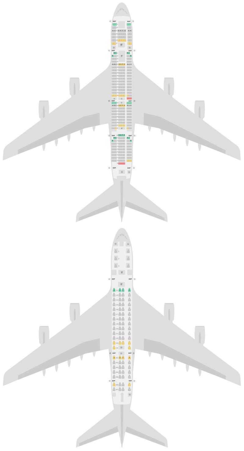 Схема салона Аэробус А380-800 (388) v3 Сингапурские Авиалинии