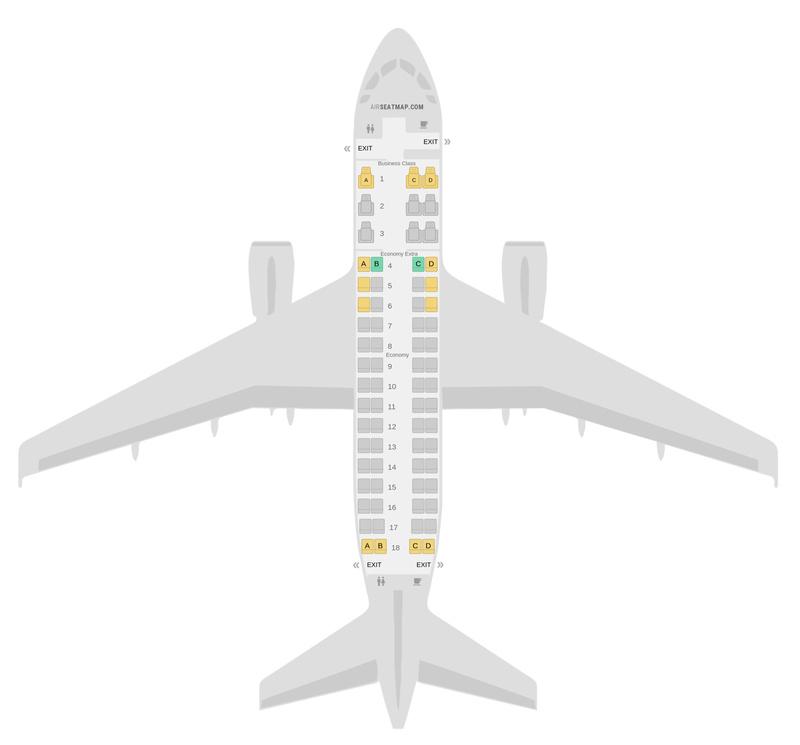 Схема салона Эмбраер 170 Delta Air Lines