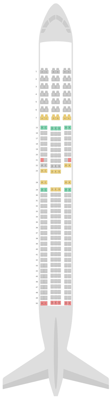 Mapa de asientos Boeing 767-300ER v2 Japan Airlines (JAL)