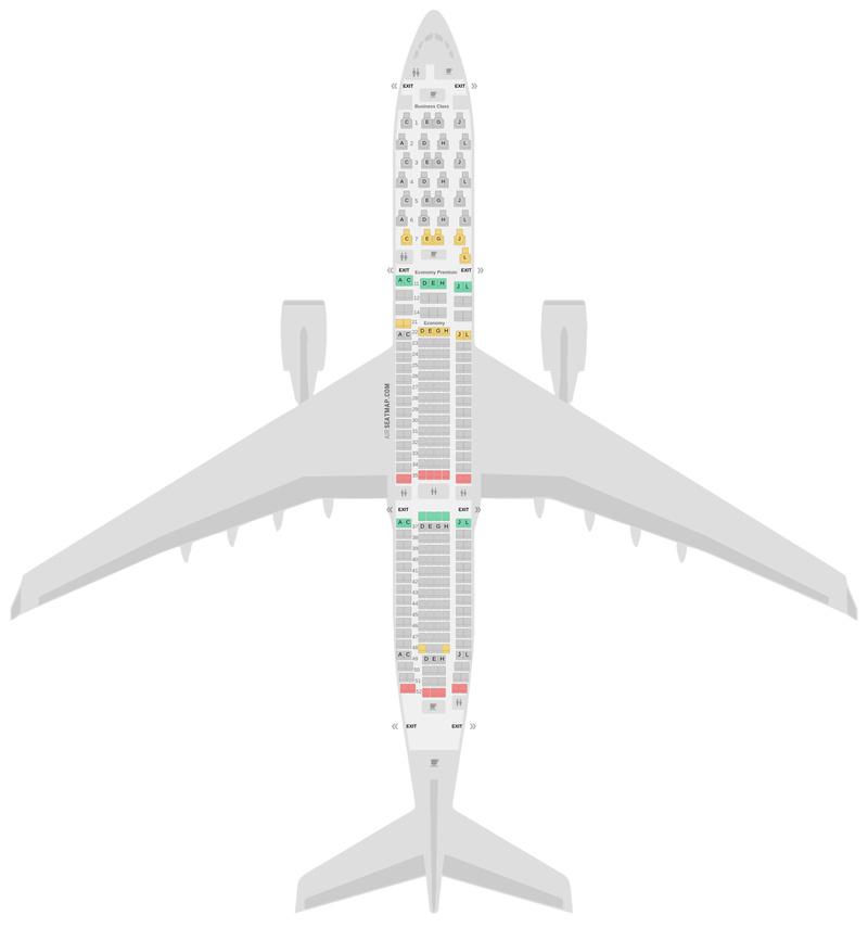 Схема салона Аэробус А330-300 (333) Иберия