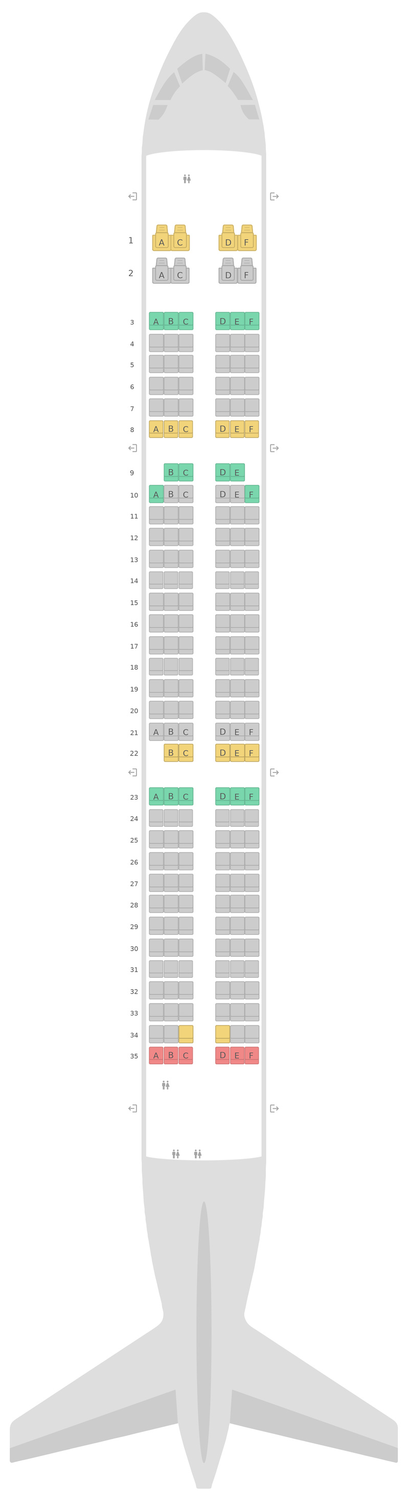 Mapa de asientos Airbus A321neo S7 Airlines