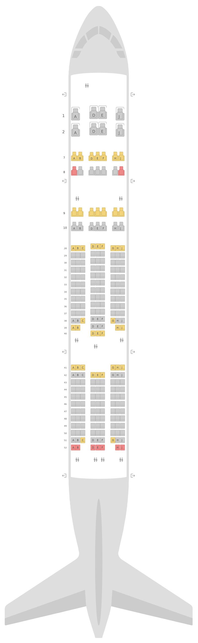 Seat Map Korean Air Boeing 777-200ER v1