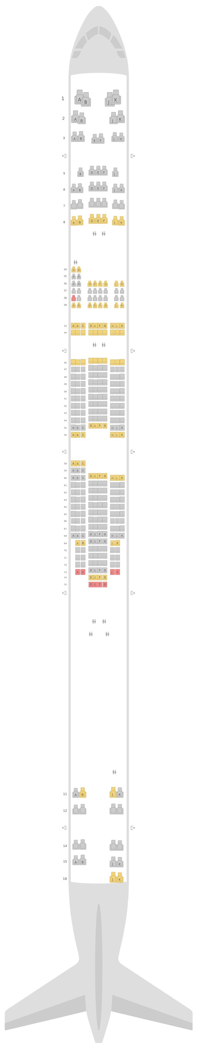 Схема салона Боинг 747-400 (744) Qantas